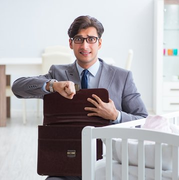 The young businessman trying to work from home caring after newb
