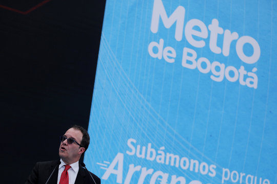 Metro company manager Andres Escobar Uribe, speaks during the presentation of the award of the contract for the construction of the Bogota subway, in Bogota