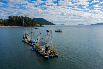 Reefnet Salmon Fishing Boats Off the Coast of Lummi Island, Washington. Located in the Puget Sound area of Washington state, reefnet salmon fishing is the most sustainable fishing method in use today.