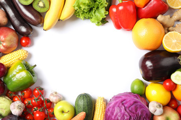 Foto op Plexiglas Keuken Composition with ripe vegetables and fruits isolated. Top view