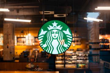 Melbourne, Australia - August 20, 2019: Sign Starbucks Coffee. Company signboard Starbucks Coffee.