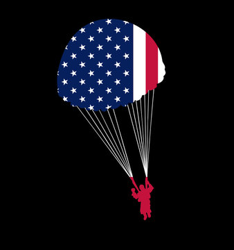 Paratrooper Parachute with American Flag Silhouette United States USA Freedom Isolated