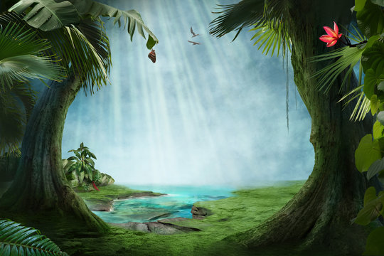 beautiful jungle beach lagoon view with palm trees and tropical leaves, can be used as background
