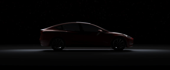 Back Light Electric Car Tesla