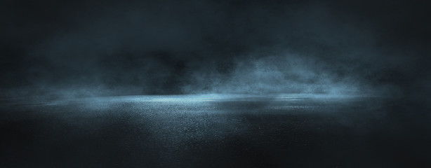 Photo sur Aluminium Gris traffic Dark street, wet asphalt, reflections of rays in the water. Abstract dark blue background, smoke, smog. Empty dark scene, neon light, spotlights. Concrete floor