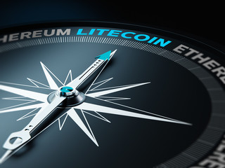 Compass Needle Points Litecoin and Others Written with Ethereum