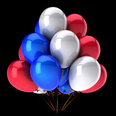 Red blue white party balloons bunch glossy colorful baloons