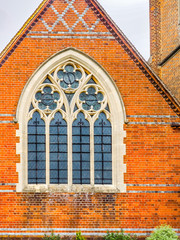 St Johns Red Brick Church Window Windlesham, Surrey, England.