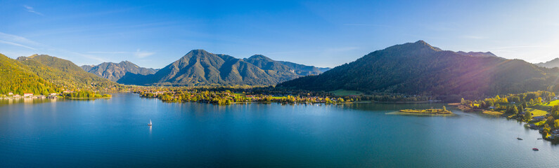 Tegernsee lake in Bavaria. Germany. Aerial Panorama. Beautiful and famous Spot