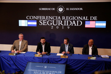 News conference after a meeting of security ministers of the Northern Triangle of Central America in San Salvador