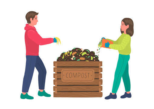 Composting. Man and woman making compost. Recycling concept.