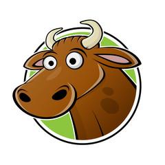 funny cartoon logo illustration of a cow or bull