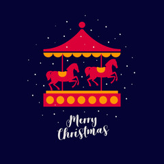 Image of festive carousel with red horses under falling snow. Decorative composition is ideal for Christmas and New Year's cards, posters. Vector colorful illustration.