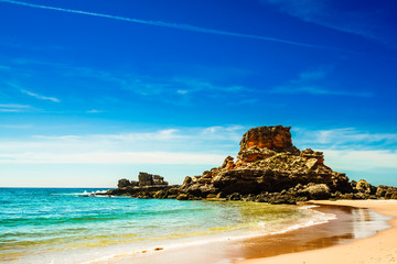 View on beautiful beach Praia do Castelejo at the Algarve coast in Portugal