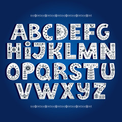 Bold alphabet decorated with nordic folk ornaments