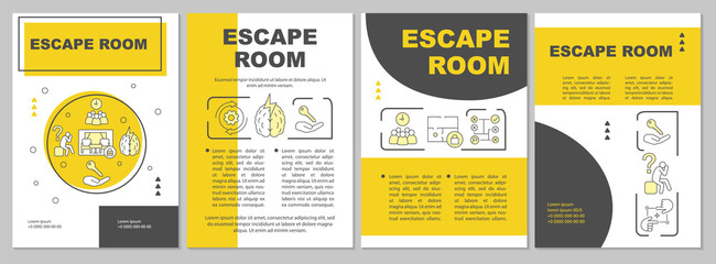 Escape room brochure template. Quest flyer, booklet, leaflet print, cover design with linear illustrations. Strategy, logic game. Vector page layouts for magazines, annual reports, advertising posters