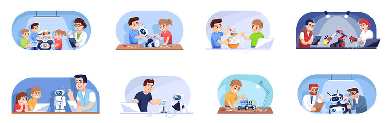 Robotics courses flat vector illustrations set. Robots designing, programming and repairing. Smart technologies. Children and adults in computer science club cartoon characters
