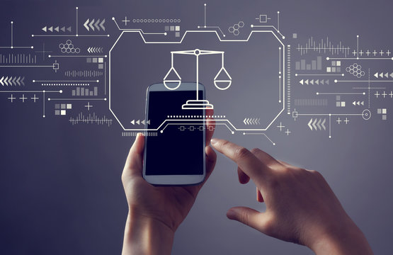Justice theme with person holding a white smartphone