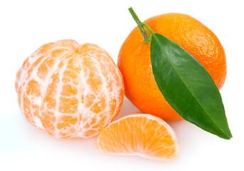 Fototapete - Fresh mandarin on white background