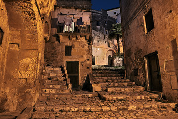 Matera, Basilicata, Italy: alley at night in the old town