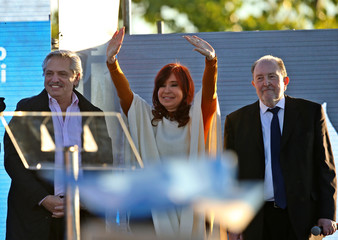 Cristina Fernandez, running mate of presidential candidate Alberto Fernandez and former President, waves during a campaign rally, in Santa Rosa