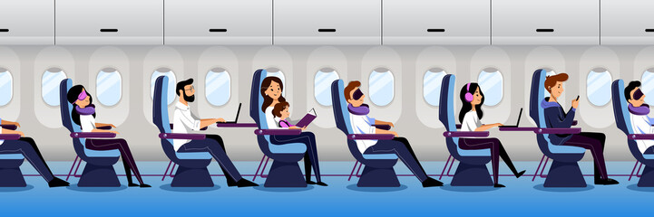 Airplane interior with traveling passengers, seamless horizontal background. People travel by plane. Vector illustration