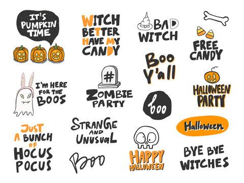 Halloween Sticker set for social media content. Vector hand drawn illustration design.