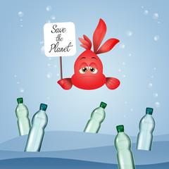 illustration of fish with plastic bottles