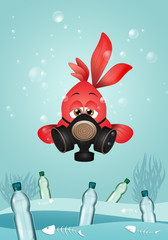 illustration of funny red fish with gas mask