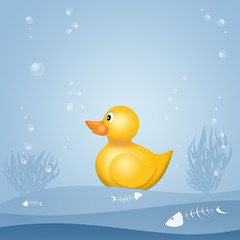 illustration of plastic duck on seabed