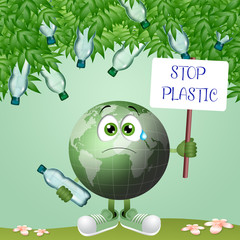 illustration of green earth with plastic bottles