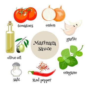 Italian Marinara sauce ingredients. Cartoon vector illustration
