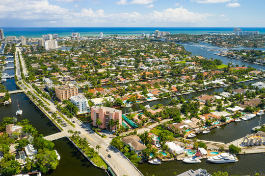 Aerial photo Las Olas Fort Lauderdale Florida luxury neighborhoods with waterfront island homes