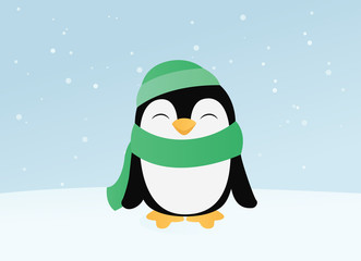 snowing, snow, penguin, illustration, scarf, cartoon, animal, christmas, wildlife, hat, bird, character, cute, cold, winter, nature, polar, vector, season, north, black, white, pole, isolated, happy,