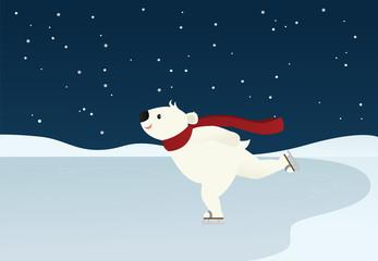 Ice skating polar bear