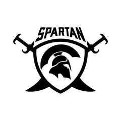 Spartan Helmet sword shield logo design template for military game armory and company.