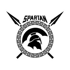 Spartan Helmet spears shield logo design template for military game armory and company