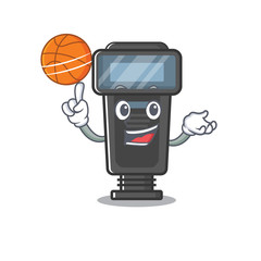 With basketball camera flash in the cartoon shape