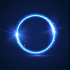 Shiny blue circular shape futuristic text frame. Vector eps10