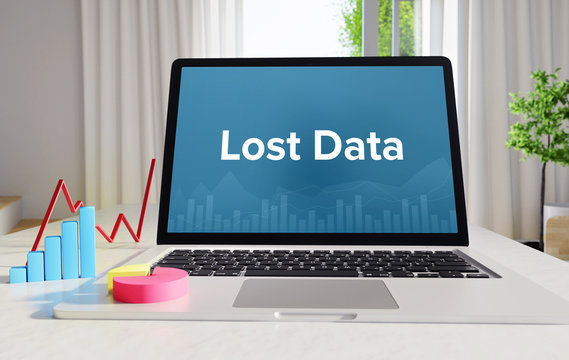 Lost Data – Statistics/Business. Laptop in the office with term on the display. Finance/Economics.