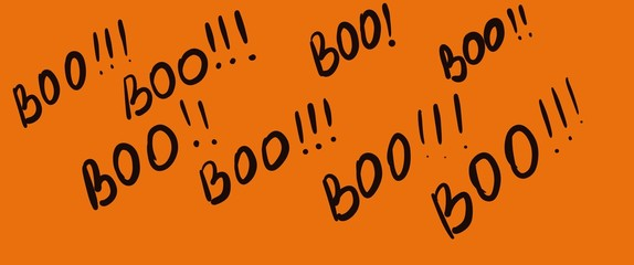 Halloween banner with Boo, orange background.