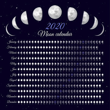 Lunar cycles at 2020 year. Moon phases calendar vector illustration. Dates for full, new moon and every phase in between. Daily moon illumination and moon age schedule on dark blue background