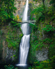 Multnomah Falls Waterfall with Smooth Water from Long Exposure Photography