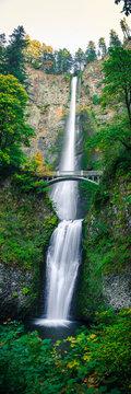 Vertical Panorama of Multnomah Falls Waterfall by Portland Oregon