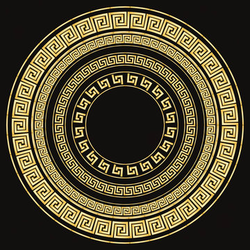 Traditional simple meander. Golden circle frame on the dark background. Ancient Greek ornament. Vector.