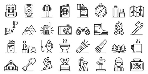 Hiking icons set. Outline set of hiking vector icons for web design isolated on white background Fotobehang