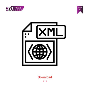 Outline xml file icon isolated on white background. Popular icons for 2019 year. file-types. Graphic design, mobile application, logo, user interface. EPS 10 format vector