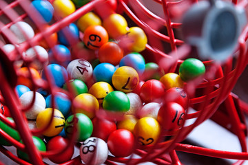 lottery games with different colored balls with numbers