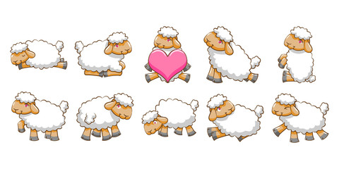 sheep vector set clipart design