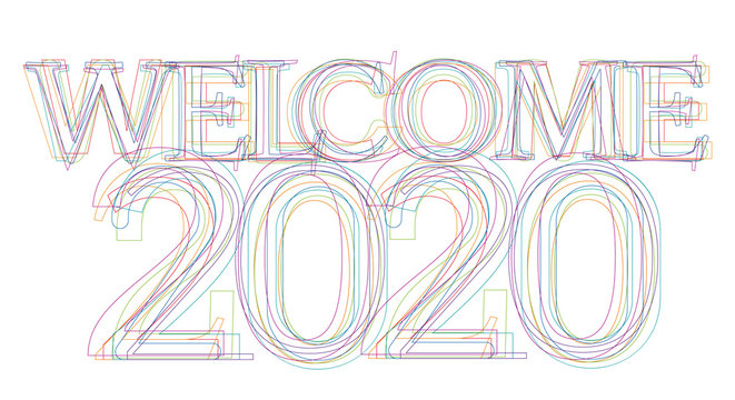 Creative text welcome 2020 in linear design
